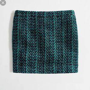 J.Crew Green Tweed Mini Skirt 00